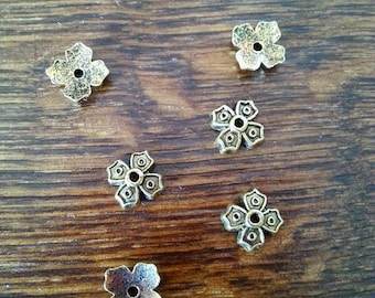 Antique set of 10 small support Cup for Golden bead Cap