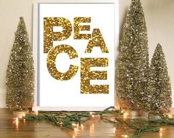Gold Glitter Peace Wall Art, Christmas Greeting Cards, Peace Printable, Peace Art Print, Minimalist Christmas, Simple Holiday, Peace Sign
