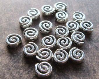 20 Antique Silver Snail Swirl Solid Metal Beads 9mm, Hole 1.5mm Heavy Cute
