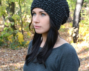 The Ashland Beanie ∙ Slouchy Textured Beanie ∙ Charcoal Grey ∙ Warm Winter Hat