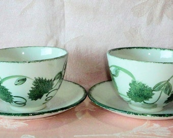 Poole Pottery GREEN LEAF 4 Pcs Breakfast Cups Saucers Ivy Grape Hand Painted One Cup Crazed