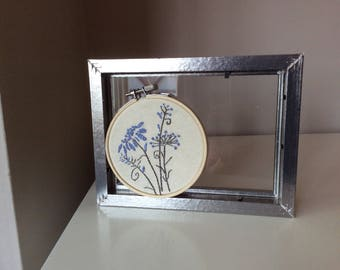 """Hand embroidered flower in 4"""" embroidery hoop"""