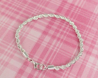 Rope Chain Bracelet 925 Sterling Silver and Rhodium Plated , 4 mm Thickness