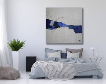 Large Blue and White Abstract Painting / Modern Art / Original Blue Abstract Art / Blue and White Painting / Texture Painting