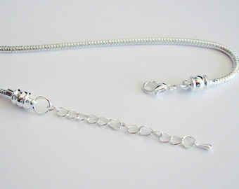 Snake Chain Bracelets, Silver Plated, Unscrews At One End With  Lobster Clasp and Chain  Fits European Style Large Hole Beads