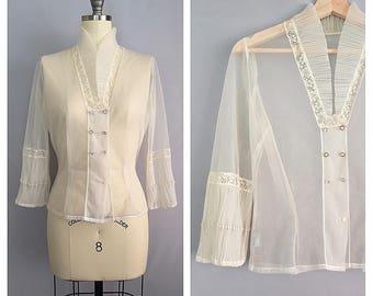 Gossamer blouse   1950s nylon lace blouse   50s sheer shirt   s - m