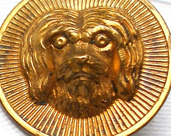 "Antique DOG BUTTON, 1800s Victorian Terrier, 3/4""."