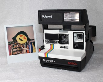 Fun Rainbow Polaroid Supercolor 635CL With CloseUp Lens - Upcycled White