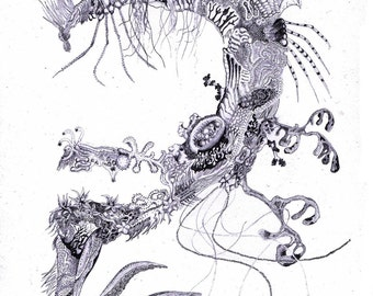 """Art surrealism drawing illustration """"Untitled from Drowning InConscious Series."""" Open Print"""