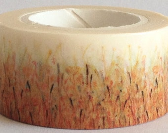 """SALE Washi Tape Floral Wide Roll  """"Field of Wheat""""  20mm x 10 meters"""