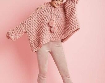 Handmade knitted sweater woman oversized sweater chunky jersey pullover woman knitted sweater bubbles sweater bubbles knitted crochetsweater