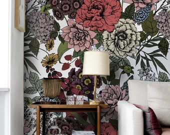 Autumn flowers wall mural,  Beauty floral temporary wallpaper,  Removable vinyl wallpaper,  Wall covering,  Wall sticker  #59