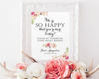 We're So Happy | Sit Wherever Sign | Various Sizes | Add Your Names | Vintage | Black | Floral Options | I Create and You Print