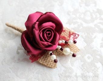 Wine Burgundy Rose Burlap Boutonniere/ Rustic Wedding Lapel Pin/ Handmade Accessory