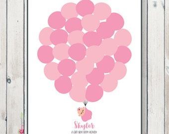 Unique Wrapping Baby Up Up Balloon Baby Shower Guest Book Printable and DIY (Digital File)