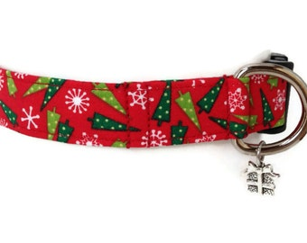 Christmas Trees Holiday Dog Collar size Medium