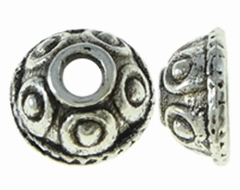 50pc antique silver finish 8mm metal bead cap-9020