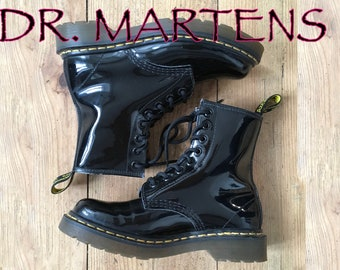 DR Martens Black Glossy Patent. 8- eye Women's Boot. Us 5 Shoes. UK 3 Shoes.