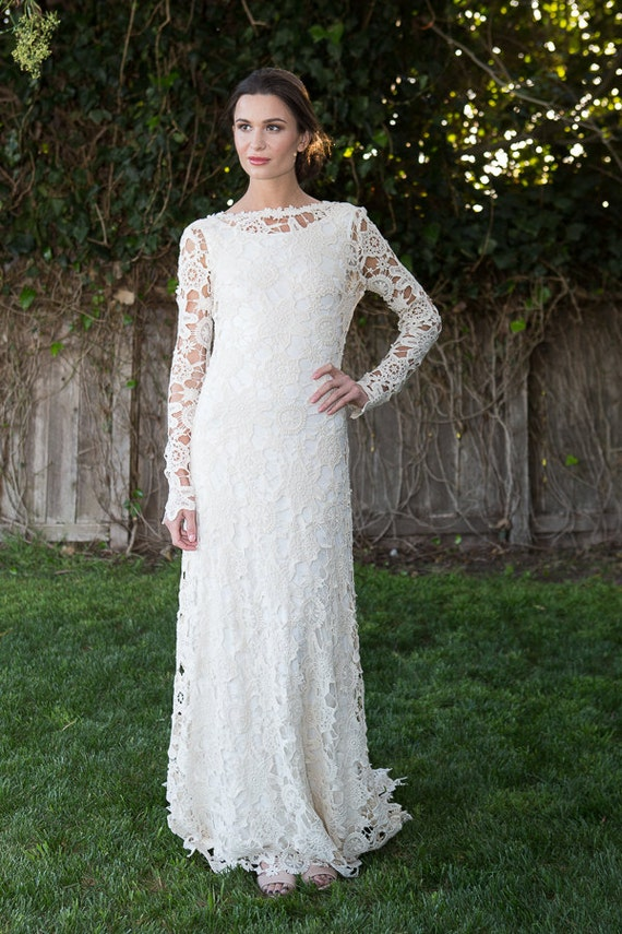 Low Back Bohemian Wedding Dress. Crochet Lace Dress. Long
