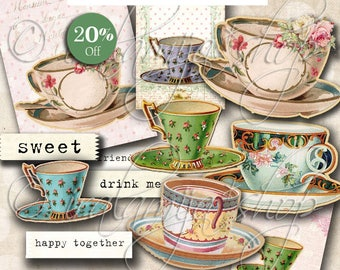 Printable Tea Cup images / TEA CUPS Digital Images / printable download / Scrapbook / Tea Cups / Tea cup Printable / Tea Party / Tea / Cups