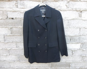 Vintage Women's Jacket 1990s Banana Republic Wool Blend Double Breasted Business Chic Small  Oversized