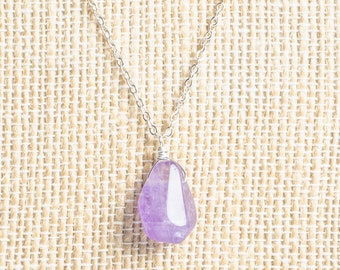 Long Purple Amethyst pendant sterling silver necklace, birthstone, semiprecious