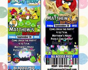 Angry Bird Birthday Party Invitation Ticket Style You Print Digital File Angry Bird Seasons