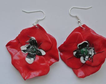 poppy flower shape earrings