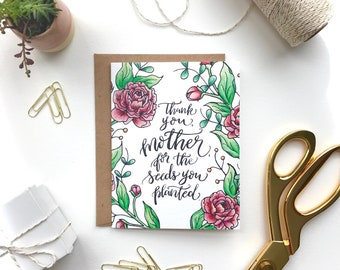 Mother's Day Card, Floral Card, Gardening, Floral Watercolor, Thank You Mother, Peony, Peonies, Hand Lettered Quote