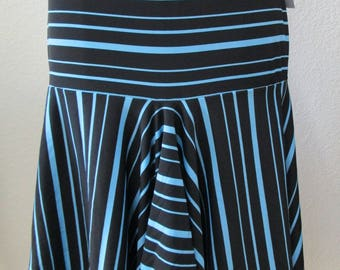 Blue and Black Stripe pattern Skirt with ruffled edging plus made in USA (V166)