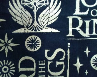 REMNANT 3/4 yard Black and Gold Lord of the Rings fabric 100% cotton