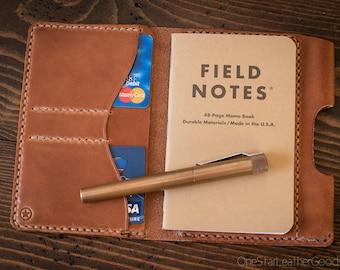 "Field Notes wallet with pen sleeve ""Park Sloper Senior"" harness leather - chestnut"
