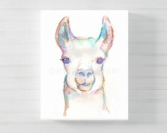 Canvas Llama Art, Canvas Animal Art, Watercolor Llama on Canvas, Llama Painting, Llama Print, Canvas Art, Zoo Animal, Nursery Animal Art
