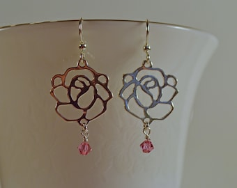 Silver Rose Earrings with Rose (Pink) Swarovski Crystals