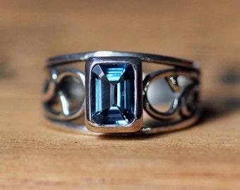 London blue topaz ring, emerald cut ring, silver swirl ring, December birthstone ring, silver vine ring, vintage silver ring, custom