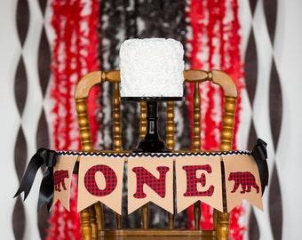HIGHCHAIR BANNER  BOY / Wild One / First Birthday Boy / Lumberjack first birthday. First birthday highchair banner. One high chair banner.
