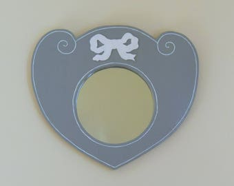 Mirror wooden heart painted in gray and white