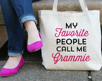 My Favorite People call me Grammie XL Canvas Tote Bag