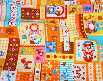 Matryoshka Russian dolls fabric Half meter 19.6 by 42 inches