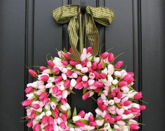 Wreath Tulips Front Door Wreath Door Wreaths  Spring Tulips Mother's Day Wreath  Easter Wreaths  Easter Tulips Trending Wreaths