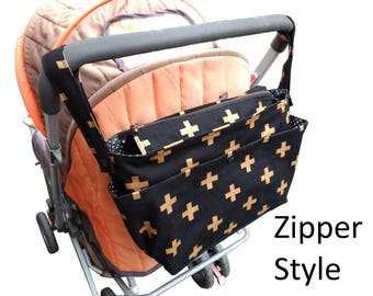 Wheelchair bag organiser/double  caddy/stylish pram caddy / stroller organiser / pram bag with flap close or zipper close- golden crosses