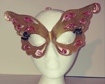 Small Leather butterfly mask in gold pink and white