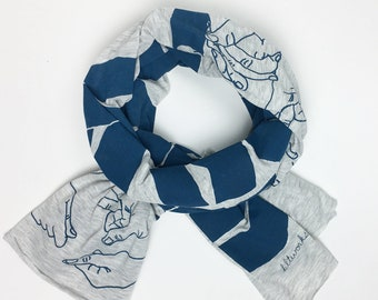 Hand Printed RESIST Scarf- Screen Printed- Blue