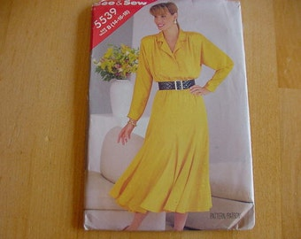 Vintage, Uncut, 1980s Butterick See & Sew Pattern 5539, Misses Loose Fitting Blouson Bodice Dress, Multi Size Misses Size 14-18