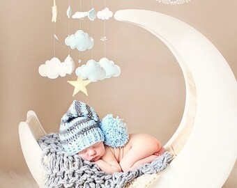 Baby blue Moon Hat, Long tail elf Hat, Baby Elf Hat Photo Prop elf hat