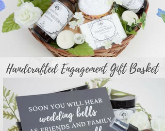 Engagement Gift Basket, Self Care, Spa Party, Care Package, Wedding Gift, Bridal Shower Gift, Body Scrub, Homemade Soap, Body Butter, Sugar