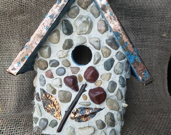 Stone Birdhouse with copper pattina roof. Outdoor protected. Easy clean out bottom.