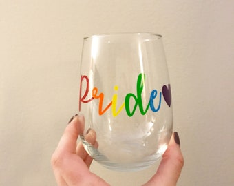 Pride stemless wine glass