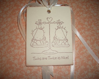 Twins Baby Tags - Twins are Twice as Nice! Adorable Image