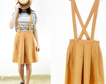 Vintage Camel Cotton Pleated Skirt with removable suspenders, pinafore [Cinnamon skirt/Caramel Camel]